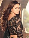 photo of Party Wear Soothing Black And Grey Color Designer Georgette Saree With Matching Blouse