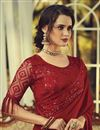 photo of Party Style Georgette Fabric Fancy Saree With Embroidered Blouse In Red Color