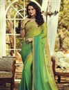 image of Party Style Fancy Art Silk Fabric Sea Green Color Saree With Embroidered Blouse