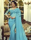 image of Light Cyan Color Party Style Art Silk Fabric Fancy Saree With Embroidered Blouse