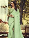image of Party Style Sea Green Color Fancy Art Silk Fabric Saree With Embroidered Blouse