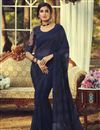 image of Party Style Navy Blue Color Fancy Saree With Embroidered Blouse In Georgette Fabric