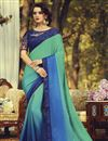 image of Party Style Fancy Sea Green Color Art Silk Fabric Saree With Embroidered Blouse