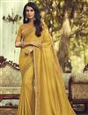 image of Party Style Art Silk Fabric Trendy Saree With Embroidered Blouse In Yellow Color