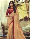 image of Art Silk Fabric Trendy Party Style Chikoo Color Saree With Embroidered Blouse
