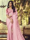 image of Pink Color Party Style Art Silk Fabric Trendy Saree With Embroidered Blouse