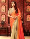 image of Orange And Beige Color Designer Saree With Alluring Embroidery Work In Silk And Georgette Fabric
