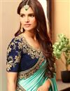 photo of Spellbinding Designer Silk Fabric Turquoise And Beige Color Festive Wear Embroidered Saree