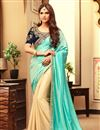 image of Dazzling Turquoise And Beige Color Party Wear Saree In Silk Fabric With Embroidery Work