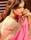 picture of Intriguing Pink Color Designer Embroidered Silk Fabric Party Wear Saree
