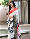 image of Fancy Off White Printed Viscose Saree-2809