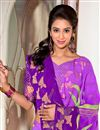 photo of Purple Party Wear Printed Viscose Saree-2810
