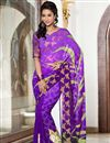 image of Purple Party Wear Printed Viscose Saree-2810