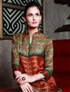 photo of Satin Fabric Party Wear Digital Print Kurti In Orange And Green Color