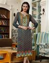 image of Multi Color Fancy Digital Print Kurti In Satin Fabric