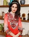 photo of Magnificent Peach Color Silk Fabric Designer Printed Kurti