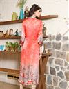 picture of Magnificent Peach Color Silk Fabric Designer Printed Kurti