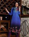 image of Blue Color Fancy Digital Print Kurti In Satin Fabric
