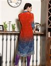 picture of Crepe Fabric Digitally Printed Party Wear Orange And Blue Color Kurti
