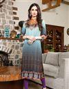 image of Fancy Digital Print Multi Color Party Wear Satin Fabric Kurti