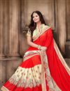 photo of Festive Wear Lovely Red Color Georgette Saree With Embroidery Work