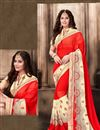 image of Designer Red Color Embroidered Saree In Georgette Fabric With Unstitched Georgette Blouse