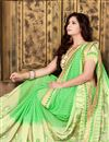 photo of Designer Green Color Embroidered Saree In Georgette Fabric With Unstitched Georgette Blouse