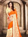 image of Party Wear Stylish Orange Color Georgette Saree With Fancy Embroidery Work