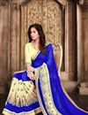 photo of Marvelous Blue Color Designer Embroidered Saree In Georgette Fabric