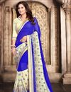 image of Party Wear Stylish Blue Color Georgette Saree With Fancy Embroidery Work