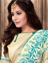 photo of Designer Cyan Color Embroidered Saree In Georgette Fabric With Unstitched Georgette Blouse