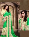 image of Festive Wear Lovely Green Color Georgette Saree With Embroidery Work