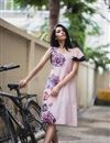 photo of Soothing Pink Color Western Top In Crepe Fabric With Fancy Print Work