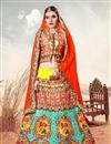image of Gorgeous Yellow And Cyan Color Digital Printed Banarasi Silk Designer Lehenga Choli