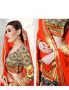 photo of Gorgeous Cream Color Digital Printed Banarasi Silk Designer Lehenga Choli
