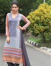 image of Georgette Fabric Party Wear Salwar Suit In Grey And White Color With Fancy Print Work
