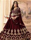 image of Designer Georgette Brown Color Anarkali Dress With Work