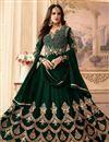 image of Fancy Georgette Green Anarkali Suit With Heavy Work