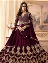 image of Embroidered Maroon Anarkali Dress In Georgette