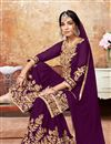 photo of Purple Embroidered Georgette Fabric Designer Sharara Palazzo Suit