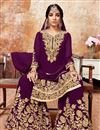 image of Purple Embroidered Georgette Fabric Designer Sharara Palazzo Suit