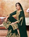 photo of Georgette Fabric Dark Green Designer Sharara Palazzo Suit Embroidery Work