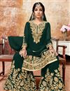 image of Georgette Fabric Dark Green Designer Sharara Palazzo Suit Embroidery Work
