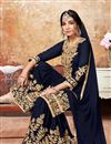 photo of Navy Blue Georgette Fabric Function Wear Sharara Palazzo Suit With Embroidery Work