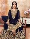 image of Navy Blue Georgette Fabric Function Wear Sharara Palazzo Suit With Embroidery Work