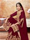 photo of Occasion Wear Sharara Maroon Palazzo Suit In Georgette Fabric