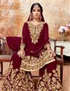 image of Occasion Wear Sharara Maroon Palazzo Suit In Georgette Fabric