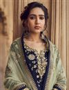 photo of Navy Blue Color Jacquard Fabric Embroidery Work Function Wear Fancy Sharara Top Lehenga