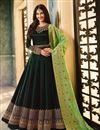image of Designer Dark Green Embroidered Floor Length Long Anarkali Salwar Kameez In Georgette