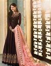 image of Designer Brown Embroidered Floor Length Long Anarkali Salwar Kameez In Georgette